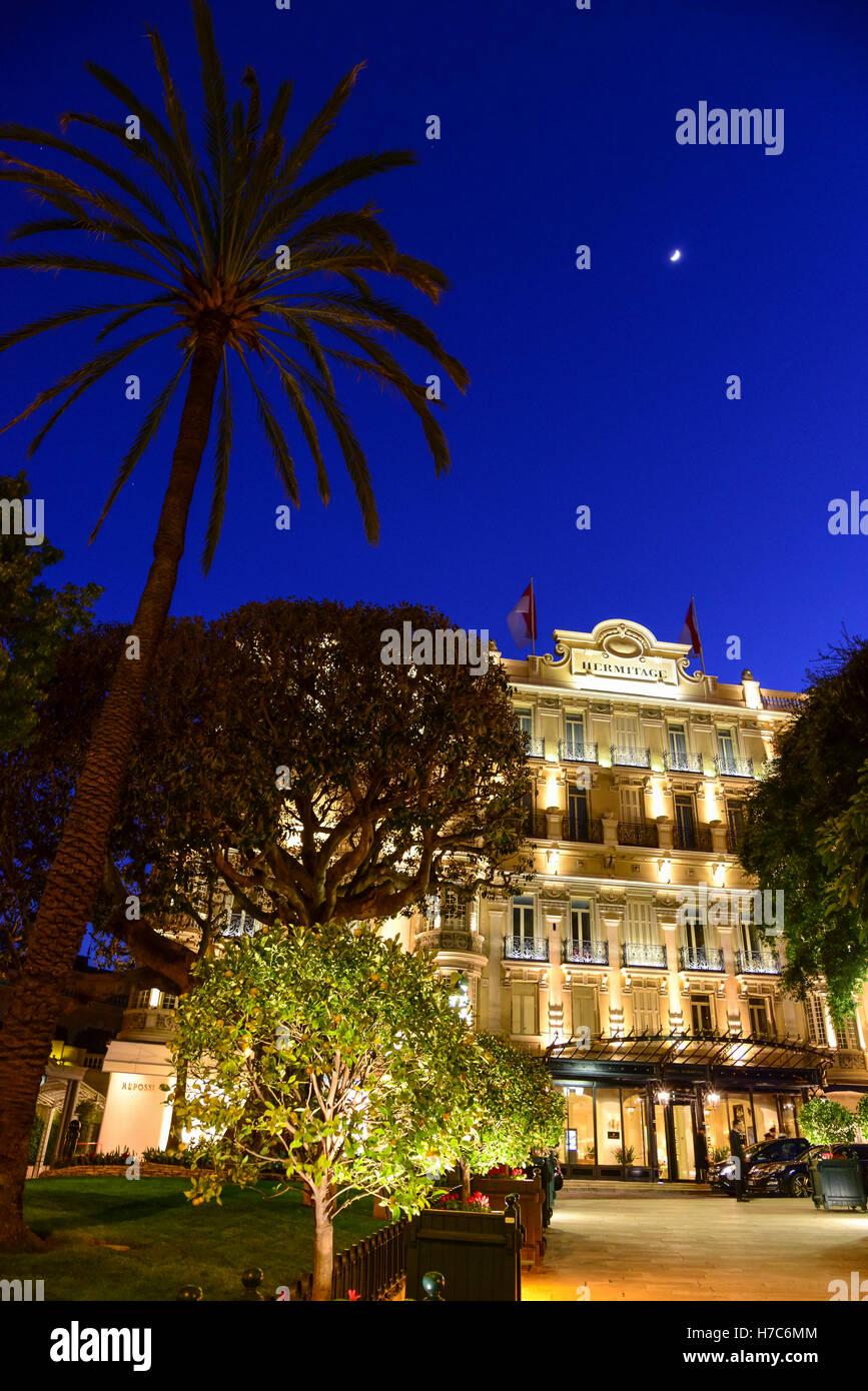 Hermitage Hotel di notte, il Principato di Monaco Immagini Stock