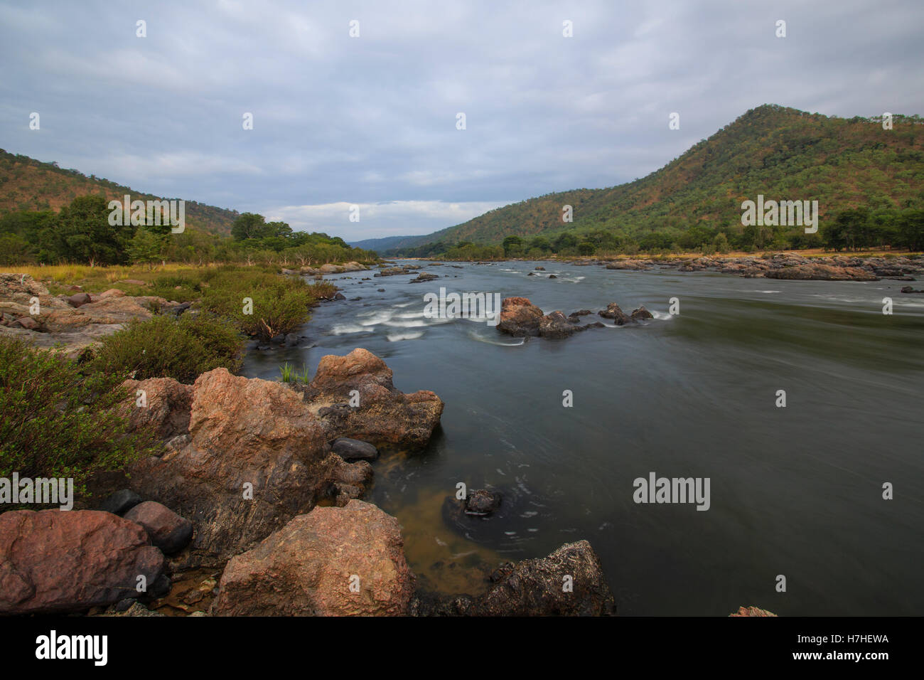 Cauvery River a Galibore (Karnataka, India) Immagini Stock