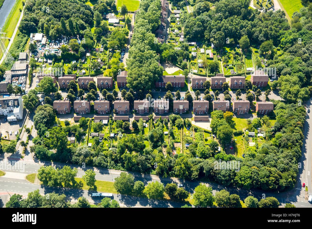 Vista aerea, storico quartiere residenziale, insediamento minerario, colliery case appartenenti alla ex Nordstern Immagini Stock
