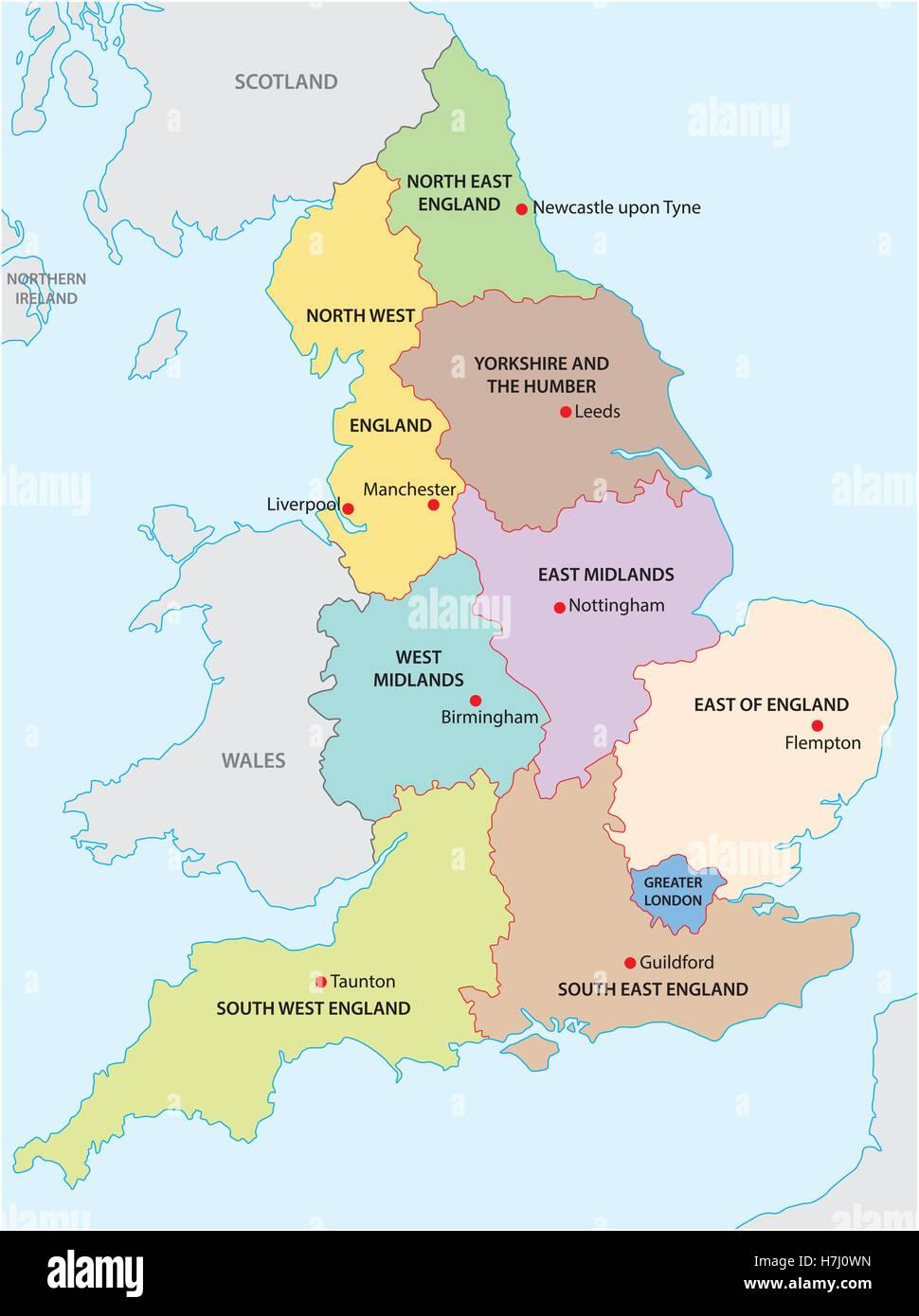Cartina Gran Bretagna Regioni.North Of England Map Immagini E Fotos Stock Alamy