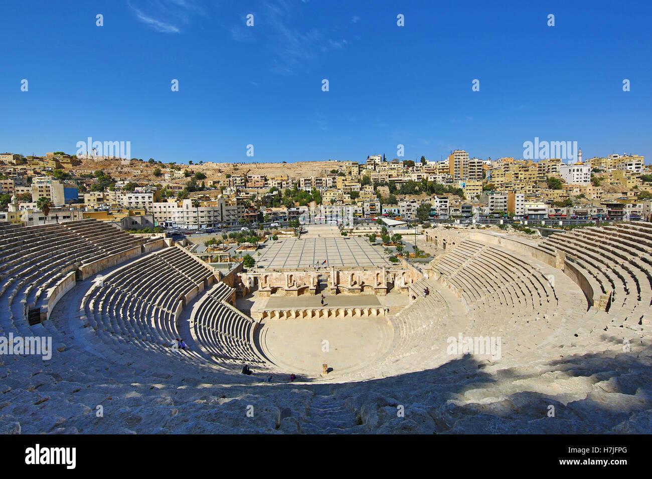 Teatro romano sulla Hashemita Plaza nella Città Vecchia, Amman, Giordania Immagini Stock