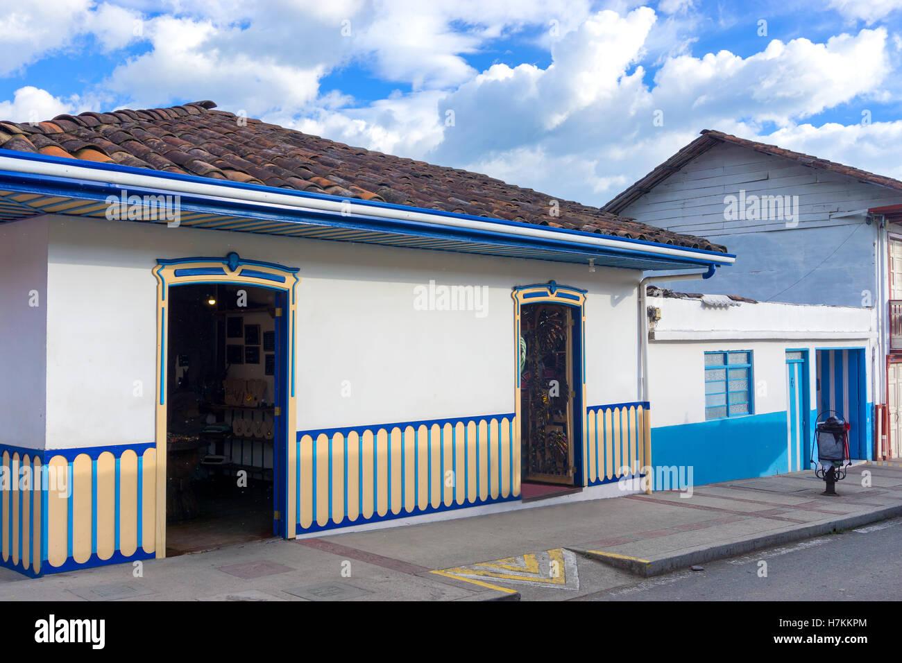 Architettura coloniale nel Salento, Colombia Immagini Stock