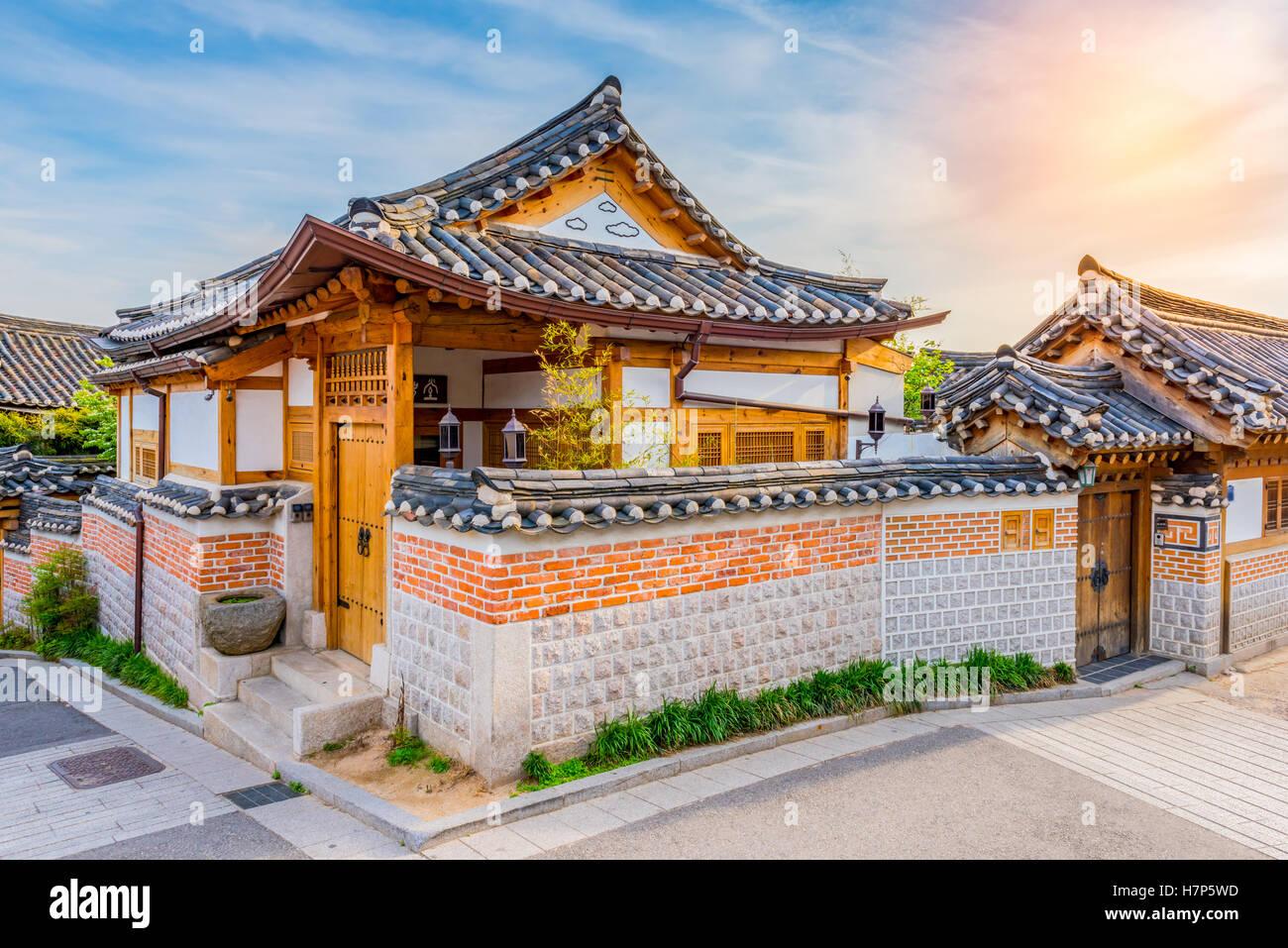 Il villaggio di Bukchon Hanok a Seul, in Corea del Sud. Immagini Stock
