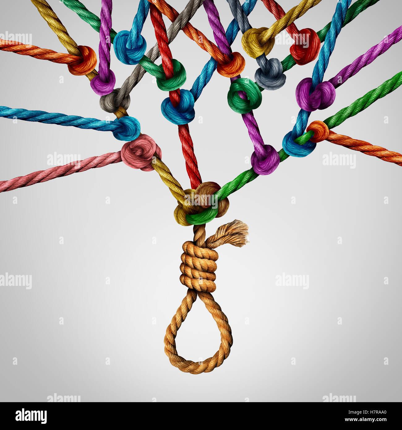 Sociale il concetto di suicidio come una sociologia metafora per la folla o mentalità gregaria e le decisioni Immagini Stock