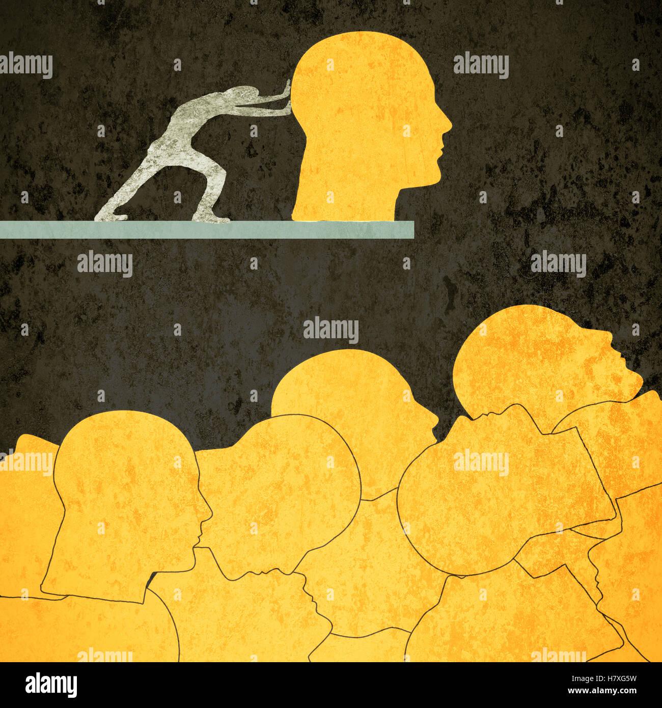 Arancione concettuale di teste umane illustrazione digitale Immagini Stock