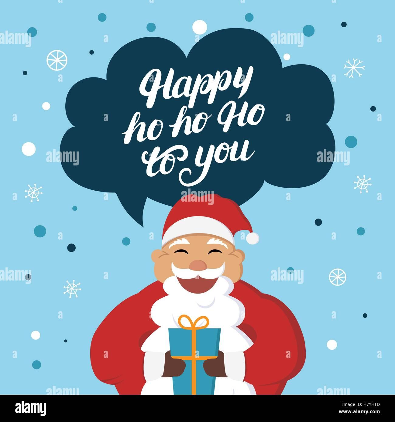 Babbo Natale Ho Ho Ho.Divertente Babbo Natale Con Dono Dire Hoho Felice Per Te Carino