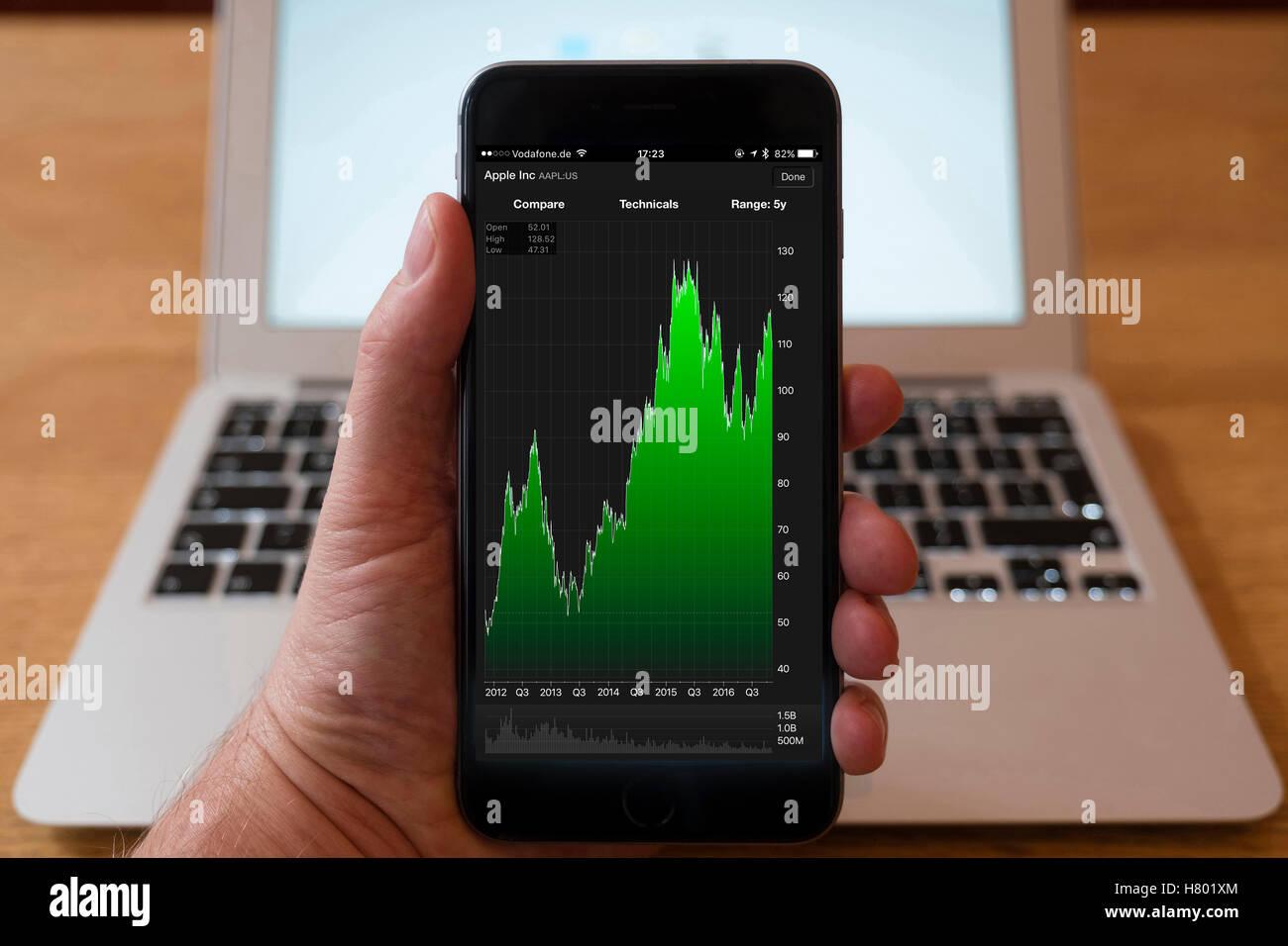 30dfbc963d Utilizzo di iPhone smartphone per visualizzare il mercato azionario grafico  delle prestazioni per Apple Inc company