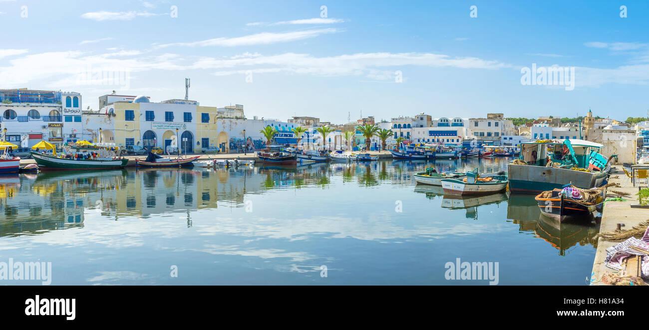 Spirito mediterraneo del porto di Bizerte lo rende famoso luogo turistico Immagini Stock
