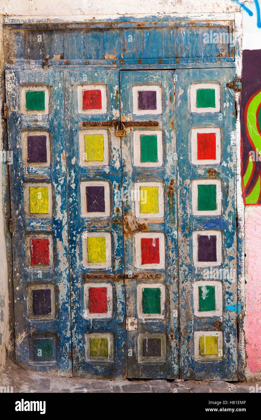 Il Marocco,Essaouira,porte dipinte Immagini Stock