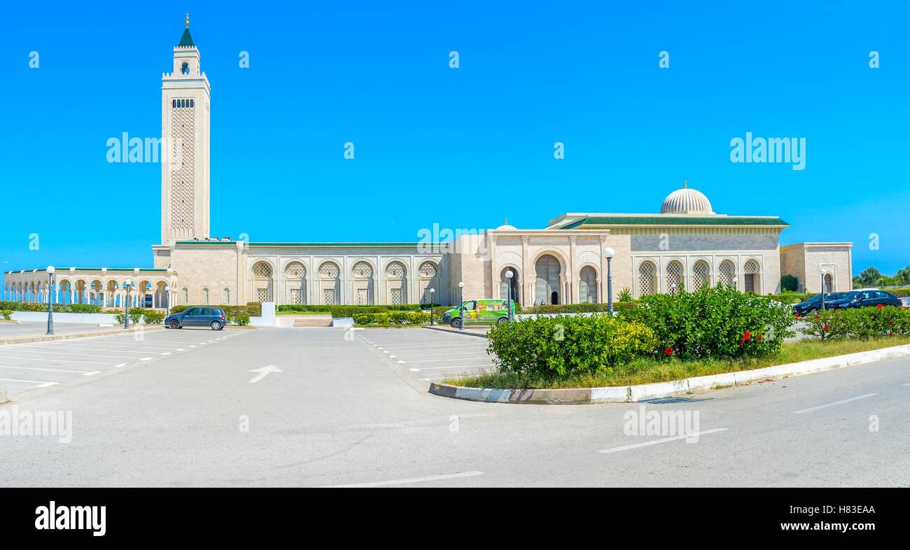 La grande moschea di pietra di Malek Ibn Anas de Cartagine, Tunisia Immagini Stock