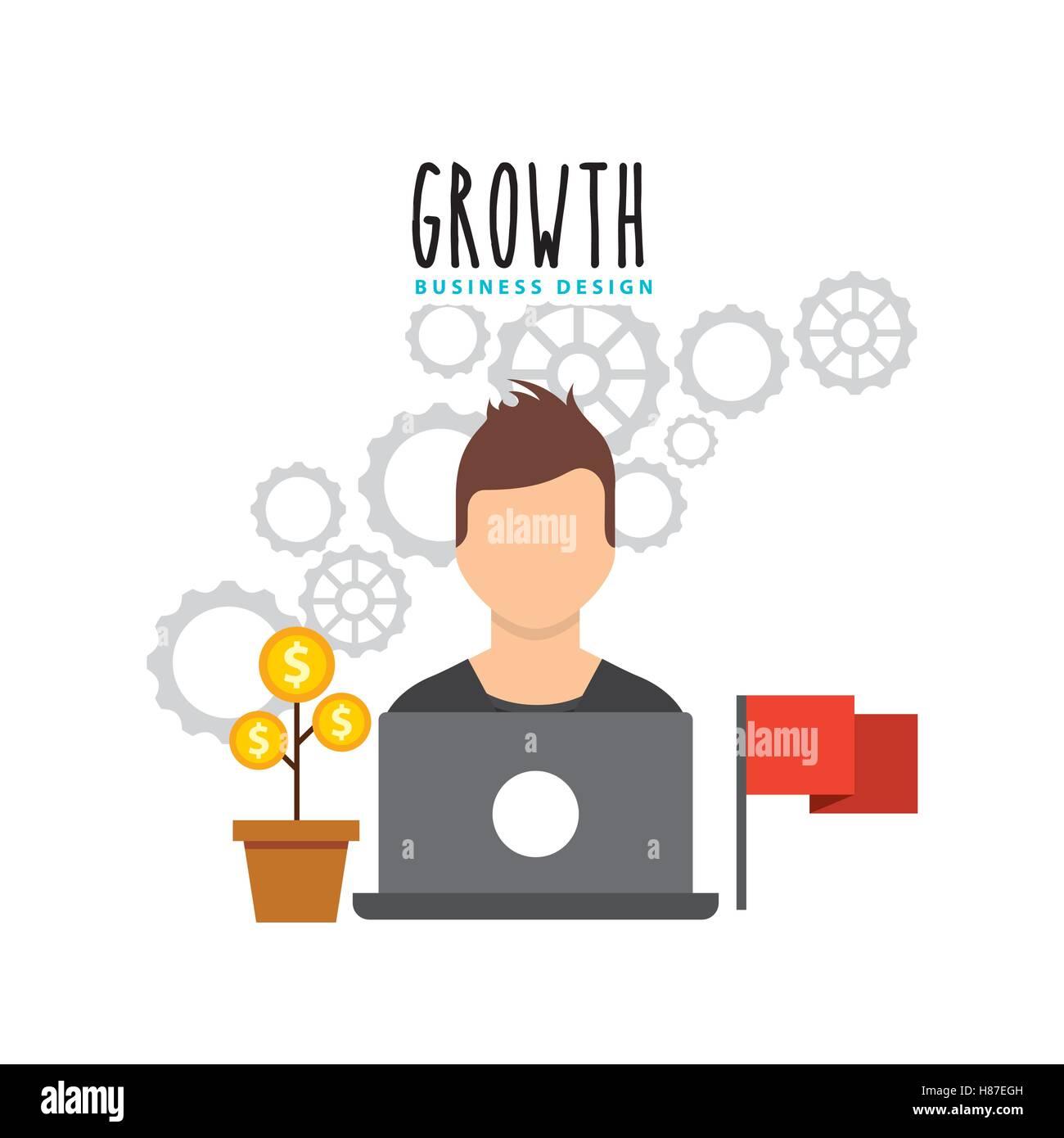 La crescita del business dei fondi icone piatta illustrazione vettoriale design Immagini Stock