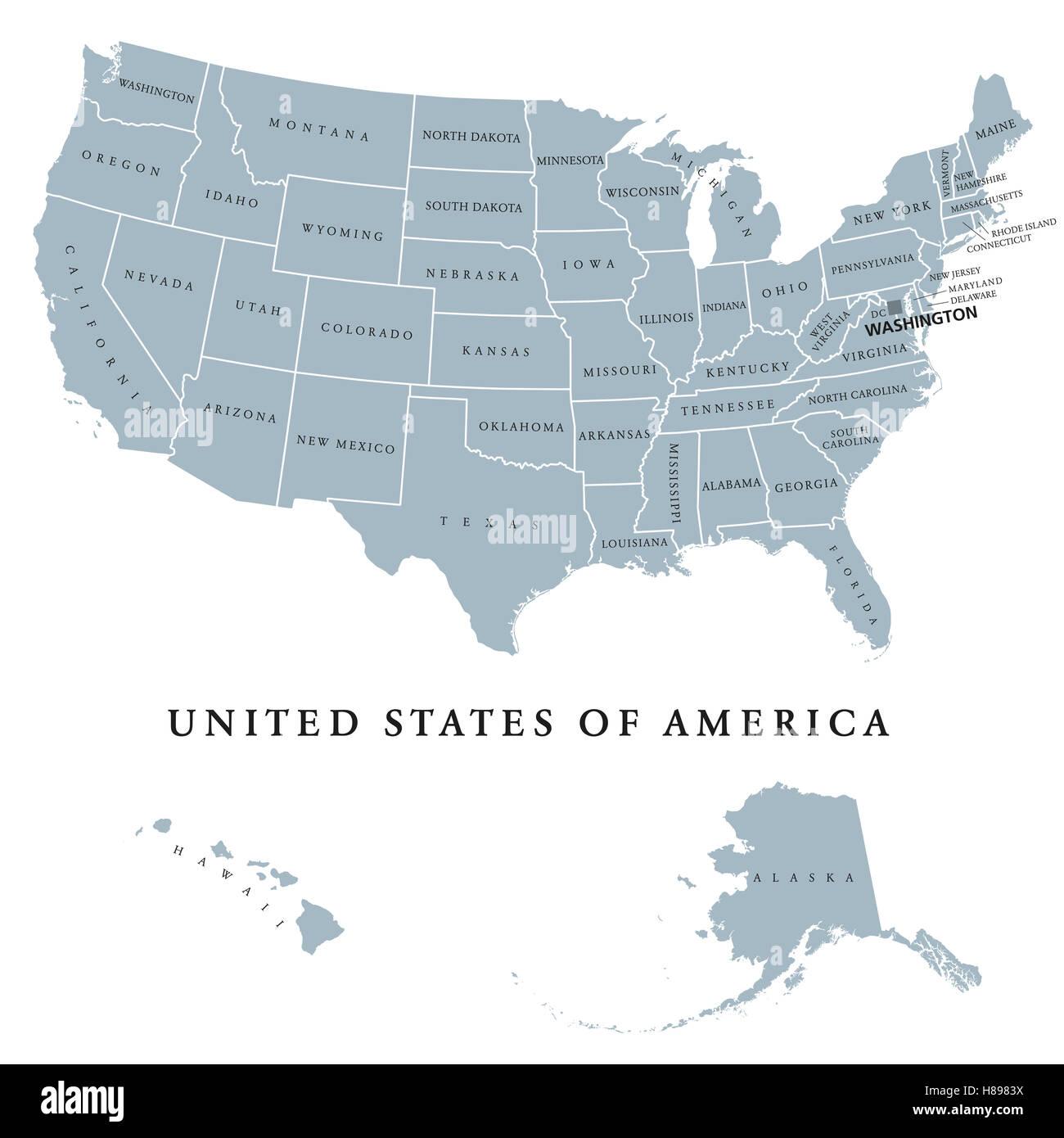 Usa Cartina Politica Con Capitali.Stati Uniti Stati Uniti D America Mappa Politico Con Capitale Washington La Stati Uniti Tra Cui Alaska E Hawaii Foto Stock Alamy