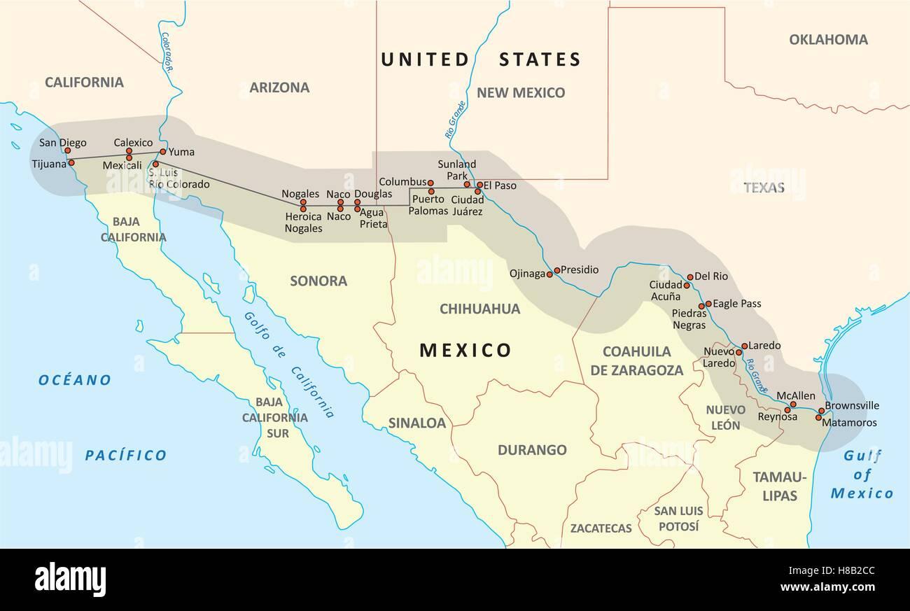 Stati Uniti-Messico mappa di confine Immagini Stock