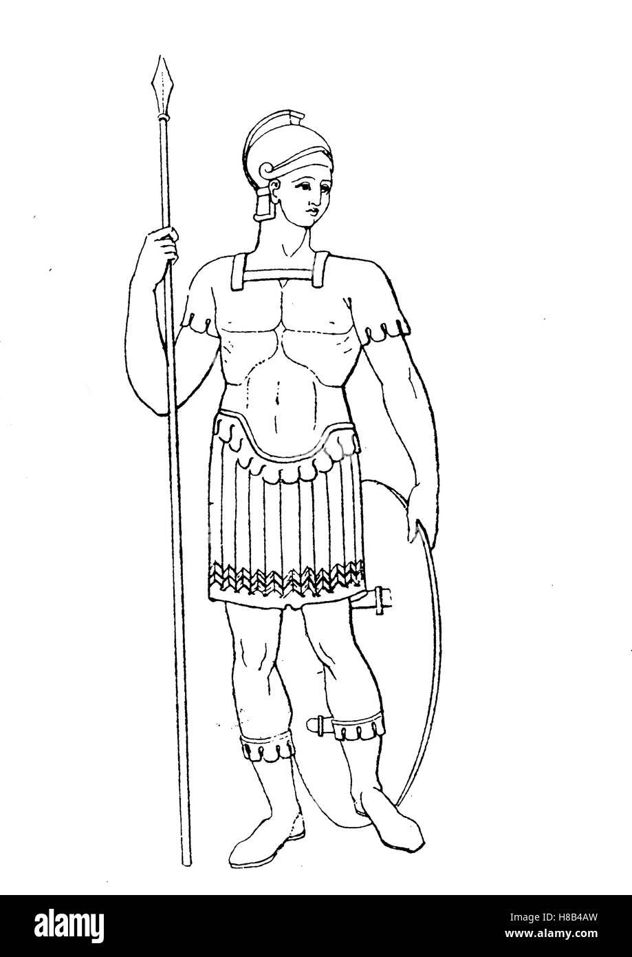 Soldato Romano con Lorica, pelle armatura, Storia della moda, costume storia Immagini Stock