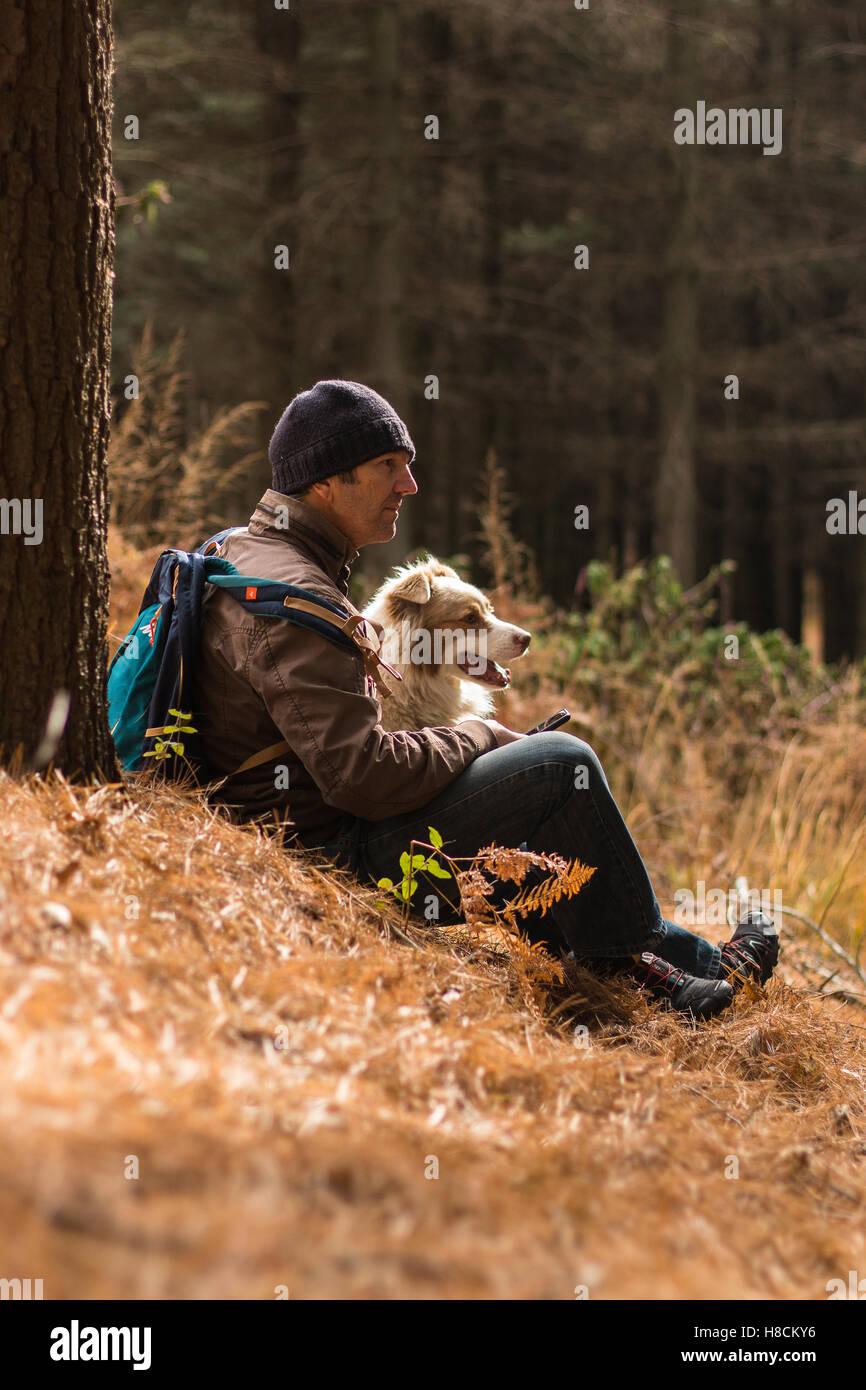 Uomo e cane godendo la vita all'aperto insieme escursionismo cercando felice avendo divertimento nei boschi Immagini Stock