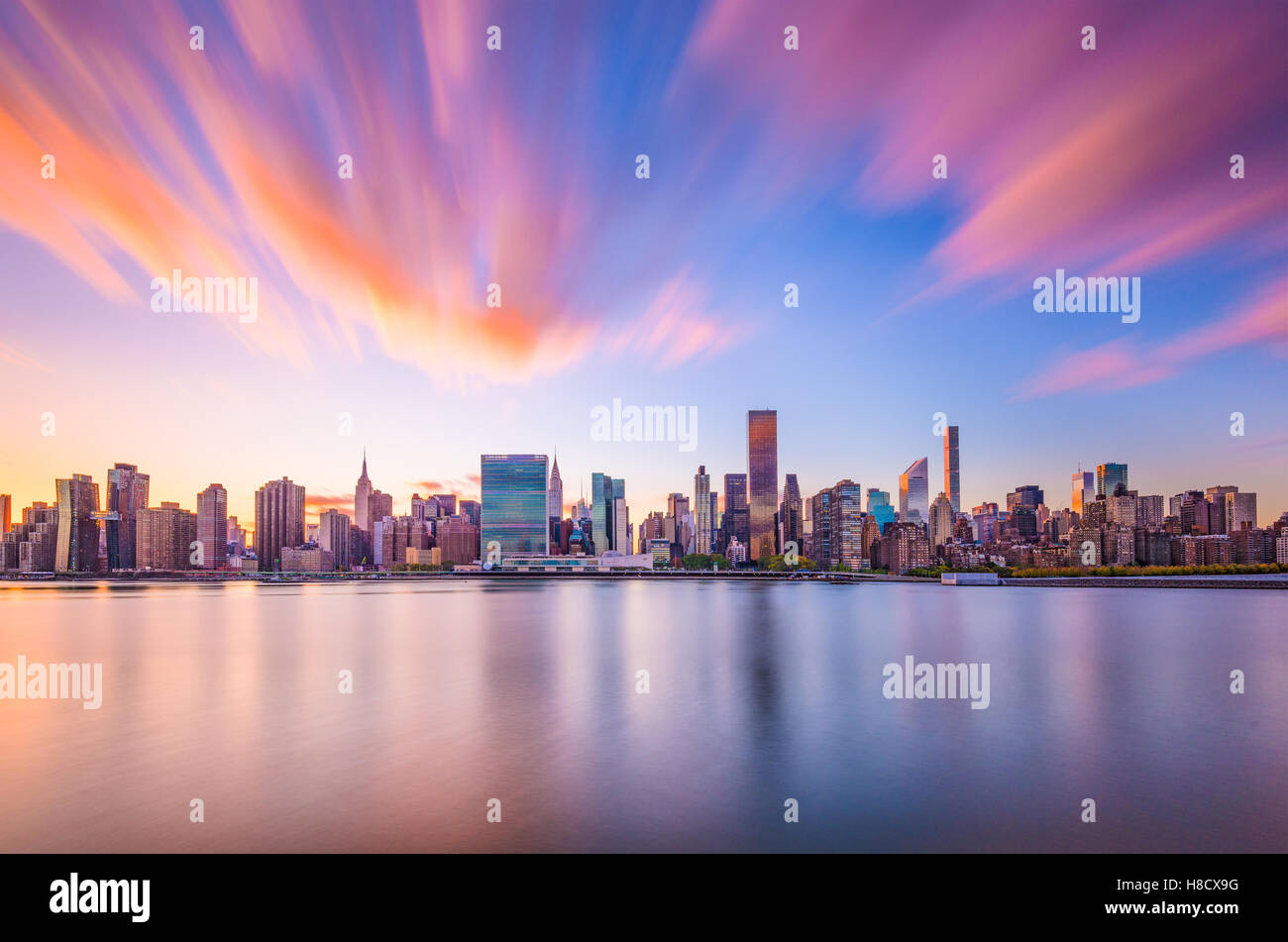 New York skyline della citta'. Immagini Stock