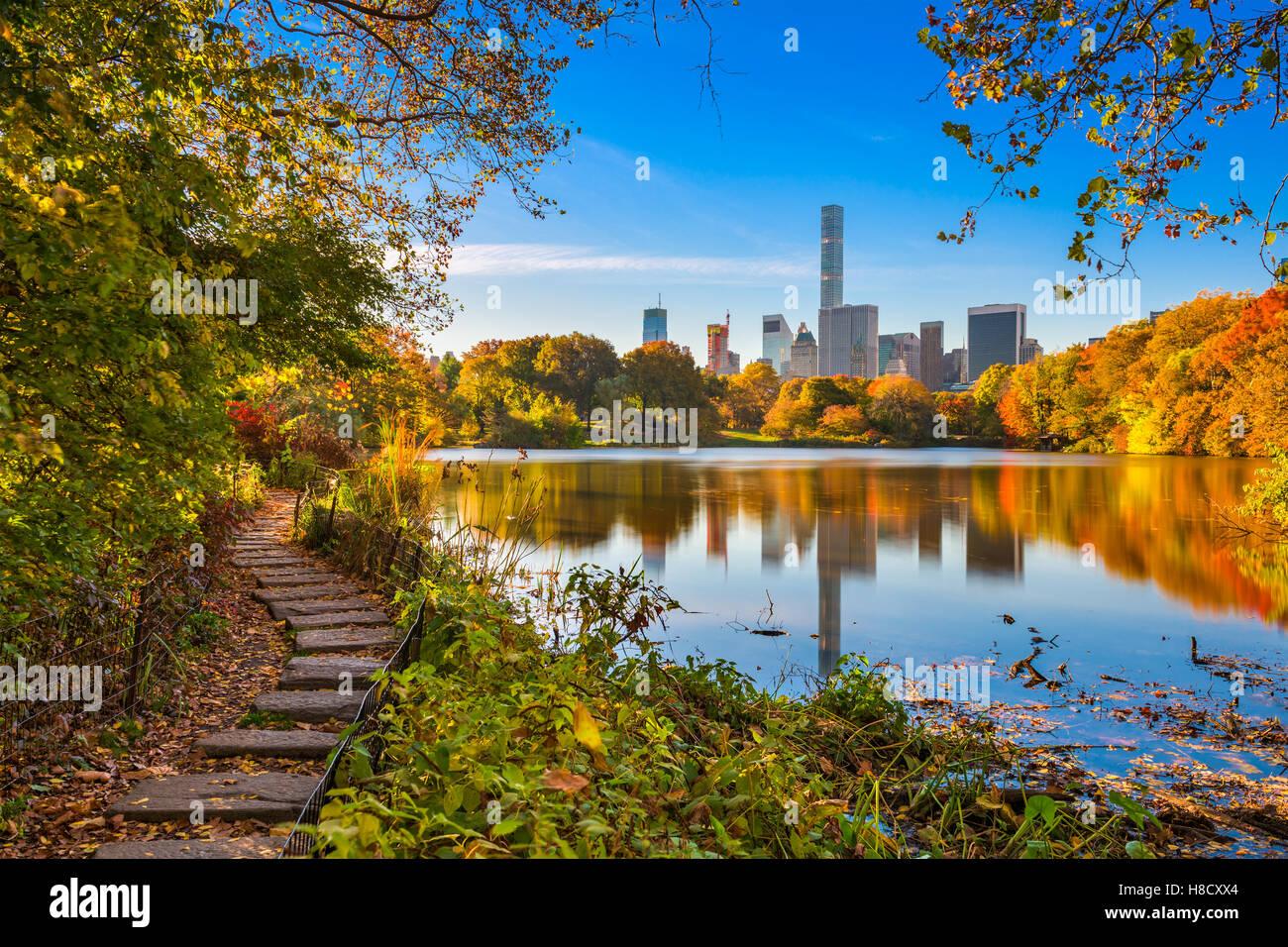 Central Park durante l'autunno in New York City. Immagini Stock