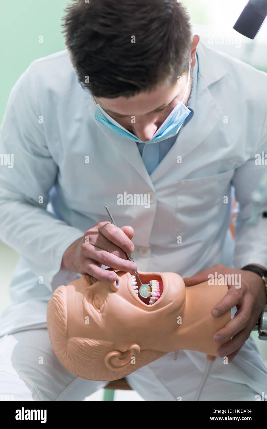 Maschio studente dentale praticando sulla bambola. Immagini Stock