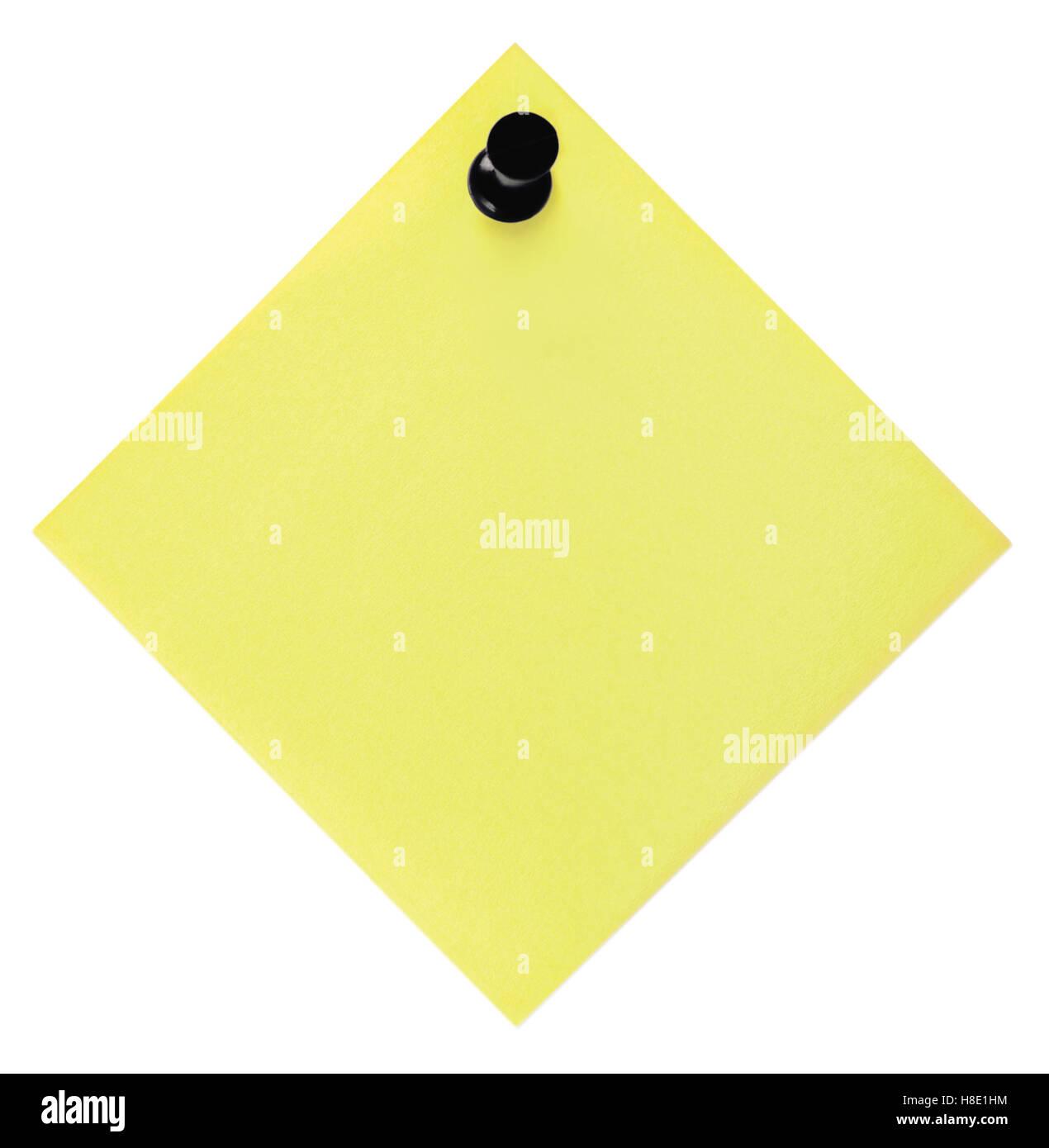 Giallo Vuota elenco di cose da fare e la puntina nera puntina, isolato nota adesiva post-it adesivo stile spazio Immagini Stock