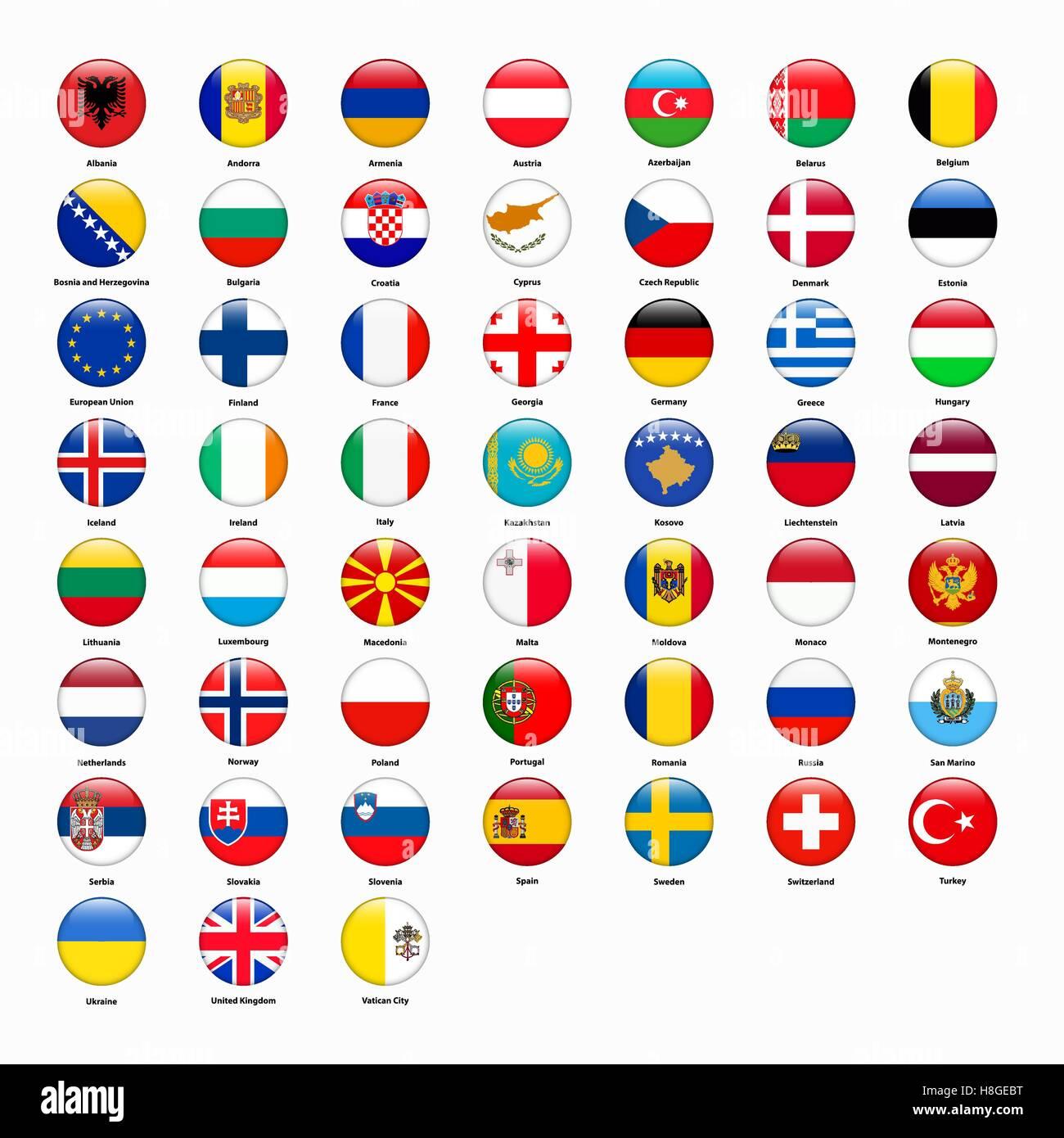 Set Di Bandiere Di Tutti I Paesi Deuropa Illustrazione Vettoriale