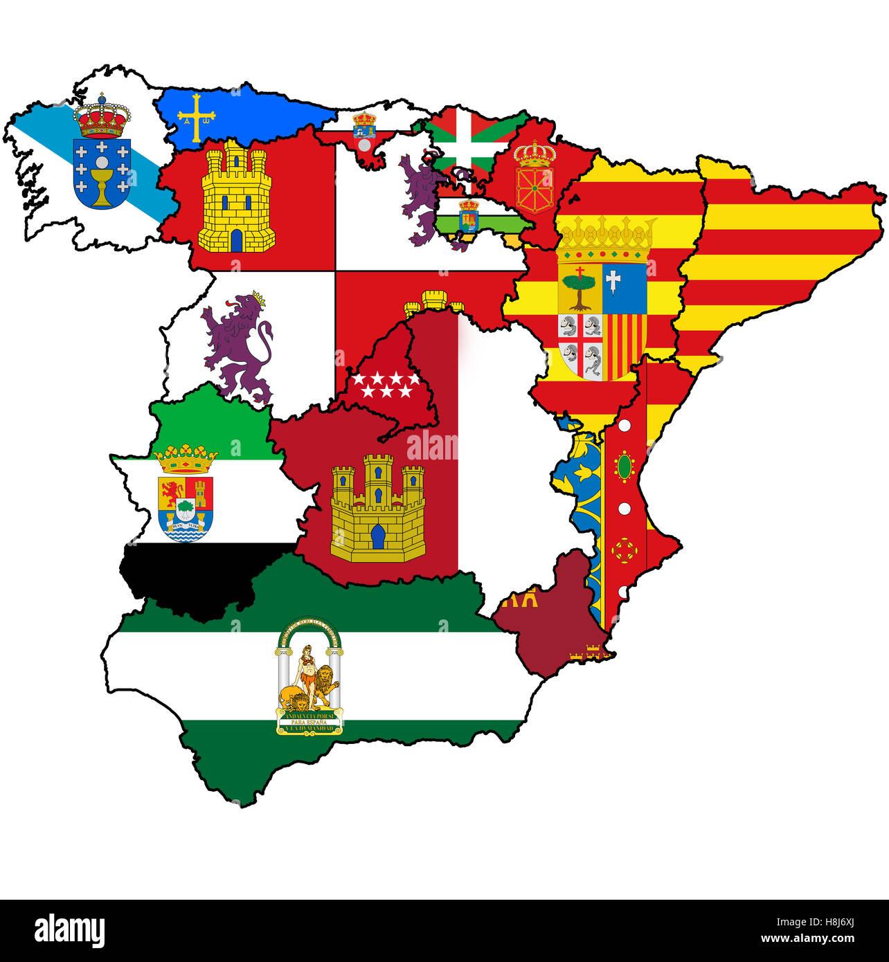 Cartina Della Spagna Con Le Regioni.Mappa Di Amministrazione Delle Regioni Della Spagna Con Le