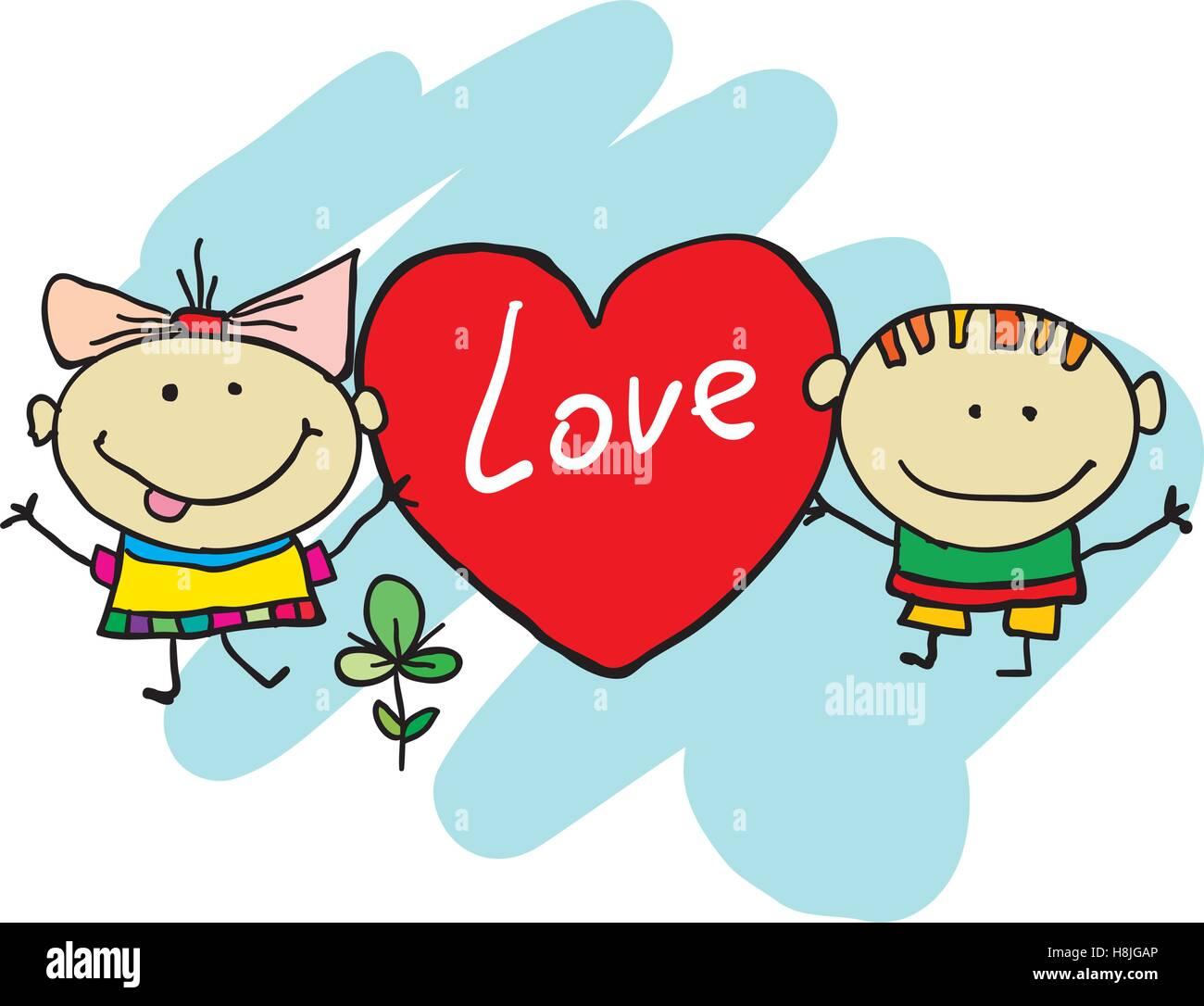 Cartoon carino kids. Disegnato a mano i bambini cartoon Immagini Stock