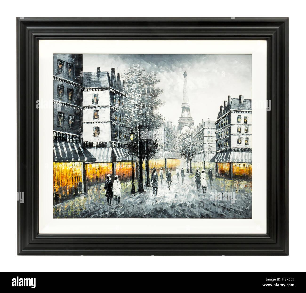 """Cornice originale olio su tela di una Parigi street scene, firmato """"Burnett' Immagini Stock"""