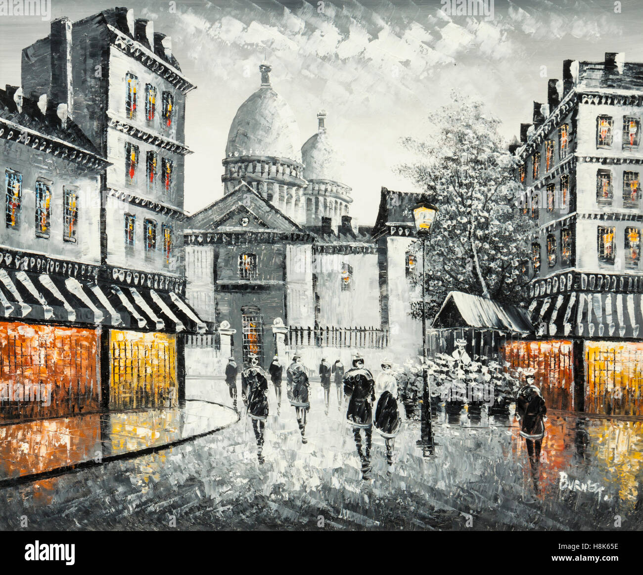 """Olio originale pittura su tela di una Parigi street scene, firmato """"Burnett' Immagini Stock"""