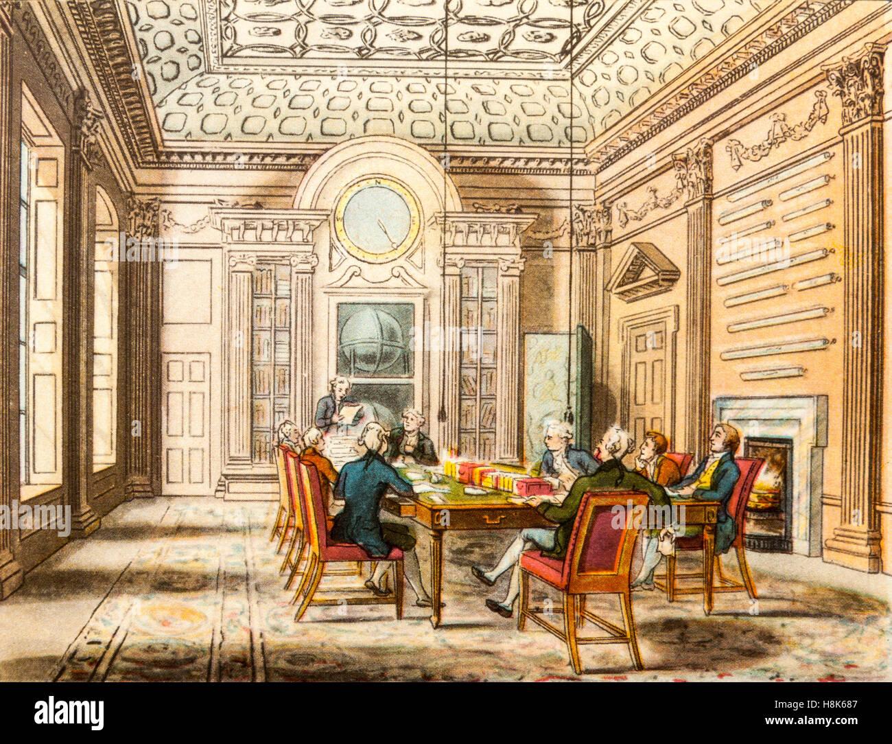 La sala riunioni dell'Admiralty in Georgian times (1714-1830), un colore incisione da 'Il microcosmo di Immagini Stock