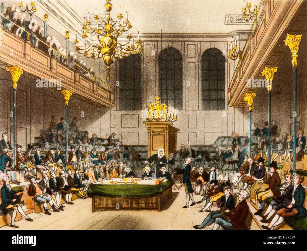 """La House of Commons in Georgian times (1714-1830), un colore incisione da 'Il microcosmo di Londra"""" (1943) Immagini Stock"""
