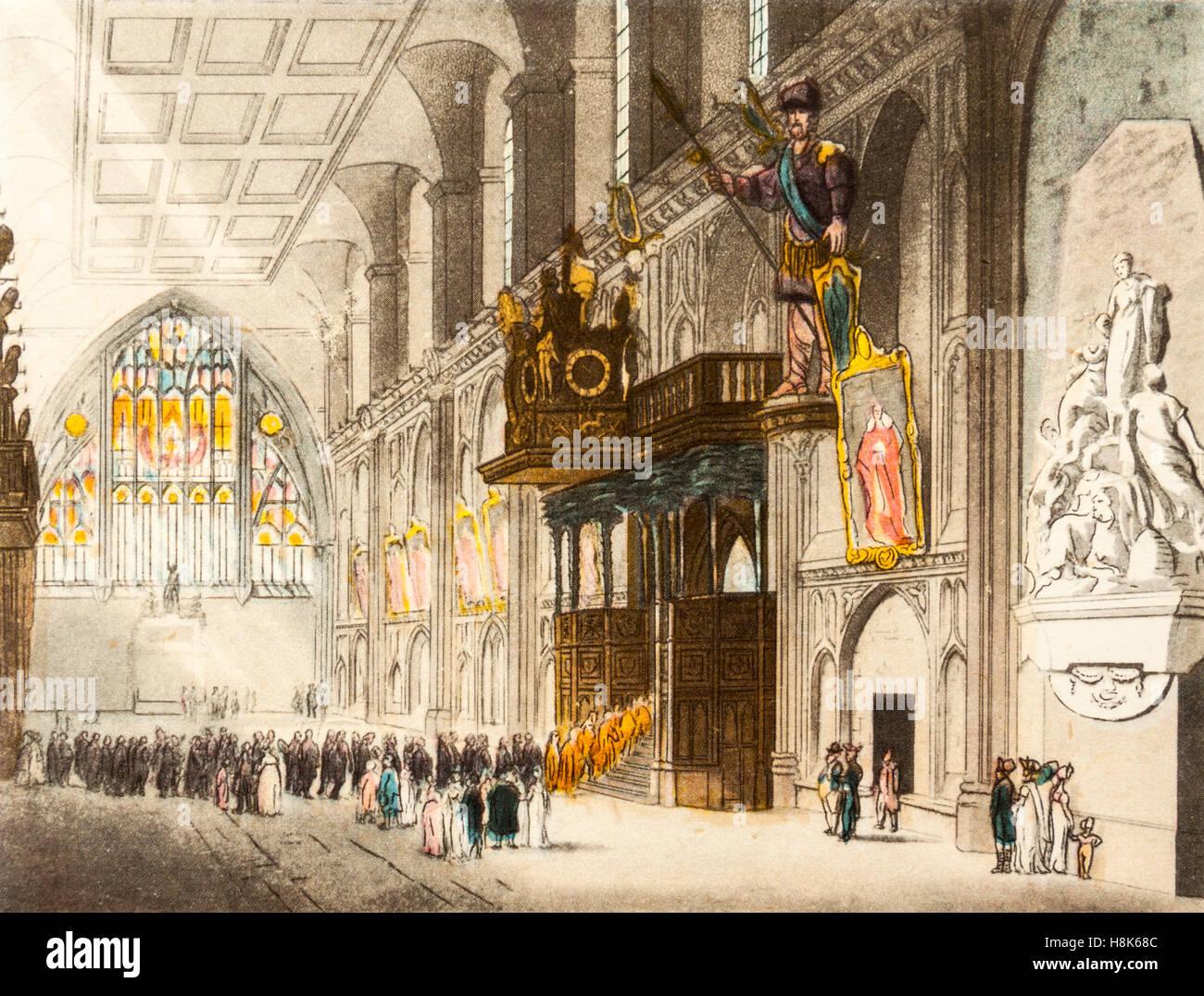 """La Grande Hall (Guildhall) in tempi georgiano (1714-1830), un colore incisione da 'Il microcosmo di Londra"""" Immagini Stock"""