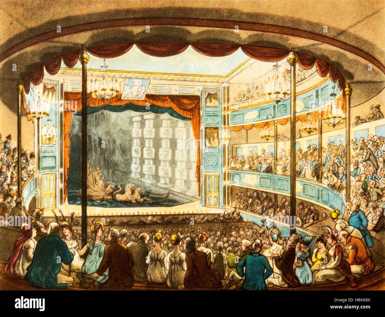 """Sadler's Wells Theatre in Georgian times (1714-1830), un colore incisione da 'Il microcosmo di Londra"""" Immagini Stock"""