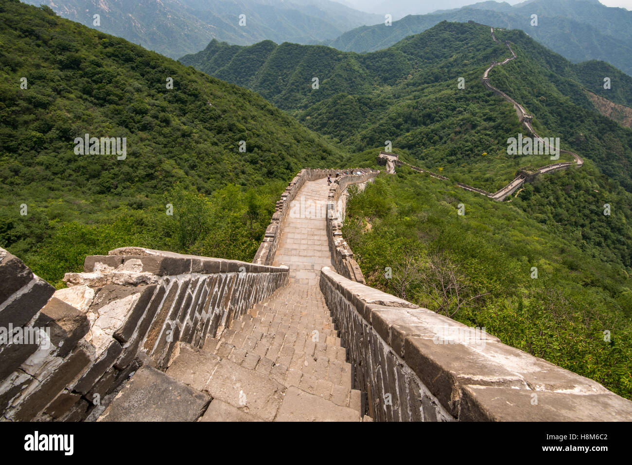 Mutianyu, Cina - Vista del paesaggio della Grande Muraglia Cinese. La parete si estende per oltre 6 mila chilometri di montagna da est a ovest Foto Stock