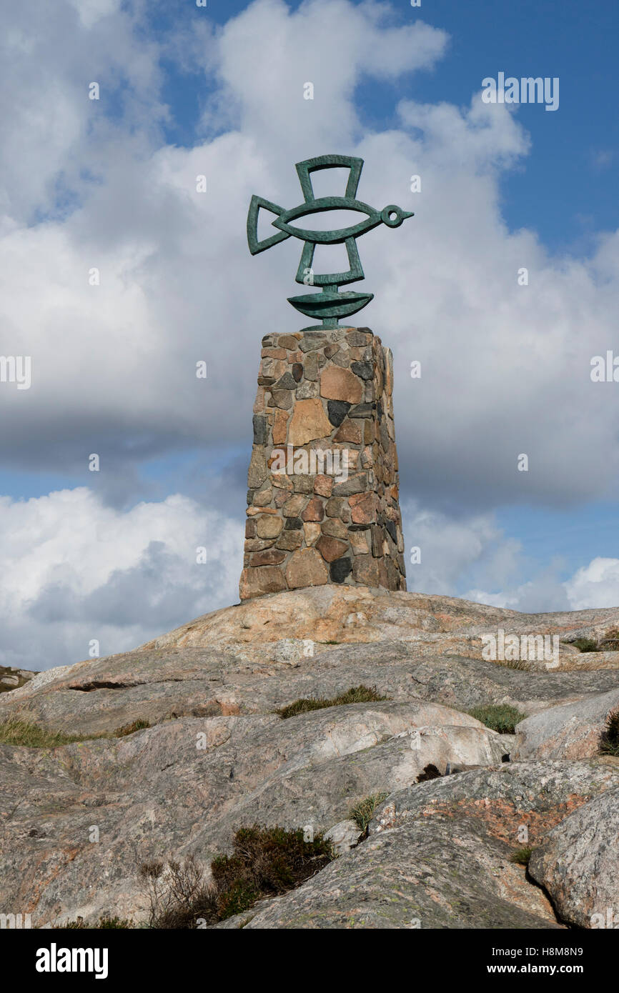 Pax-Stein, pace monumento, Lindesnes, Norvegia Immagini Stock