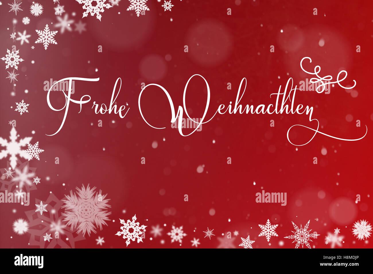 Frasi Di Natale In Tedesco.Scheda Di Natale Con La Neve E La Frase Tedesca Frohe Weihnachten Buon Natale Foto Stock Alamy