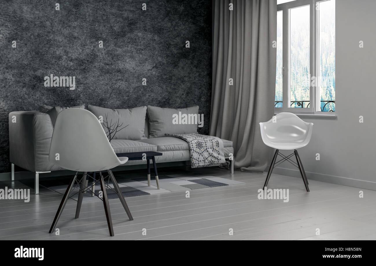 Tende Per Finestra Singola : Svuotare soggiorno con sedia singola accanto alla finestra con le