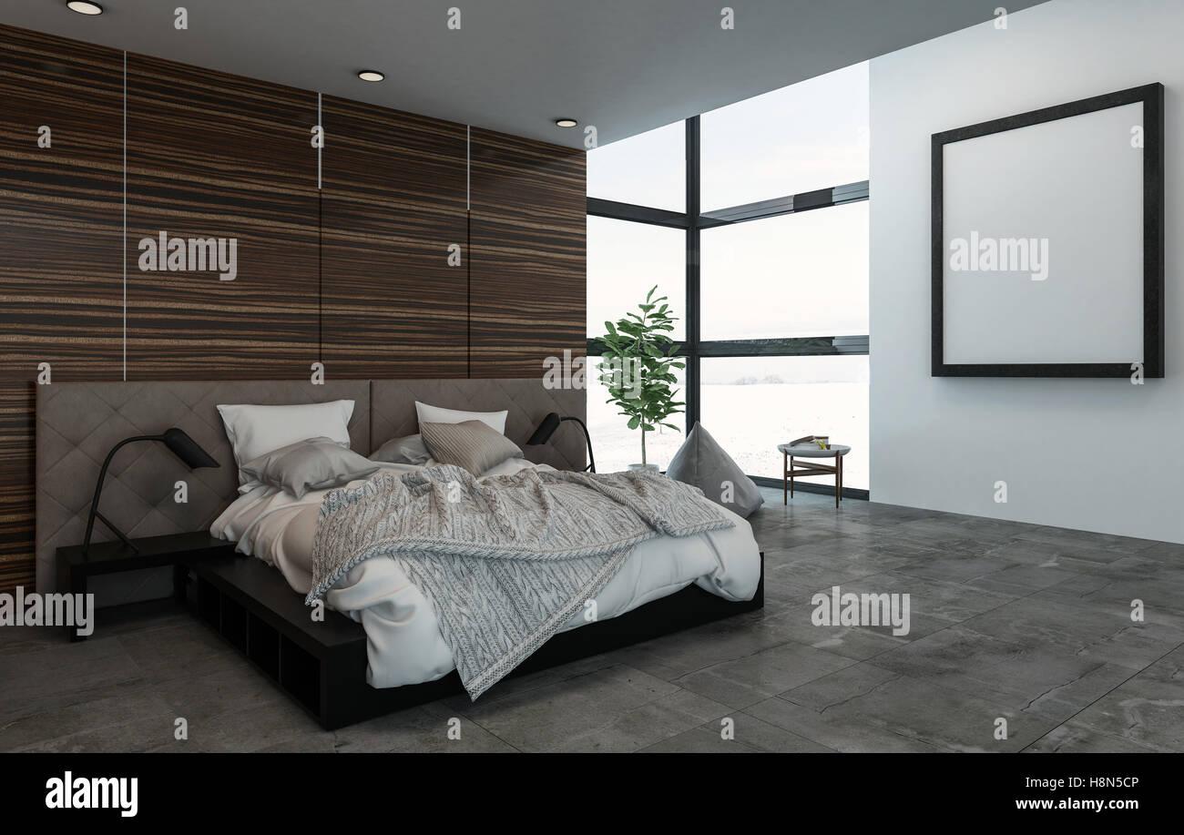 3d rendering scena in interni di grande letto con comodini in camera da letto di fantasia - Camera da letto grande ...