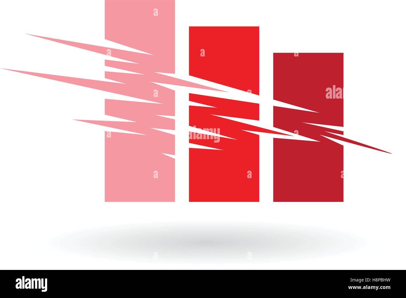 Illustrazione Vettoriale di caduta Stats Icona astratta isolata su uno sfondo bianco Immagini Stock