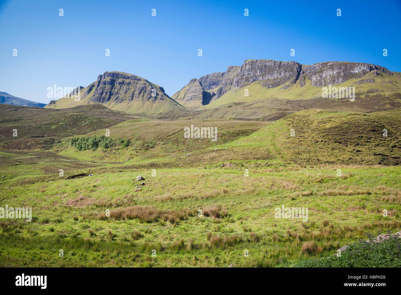 Quiraing paesaggio di montagna, Isola di Skye in Scozia Foto Stock
