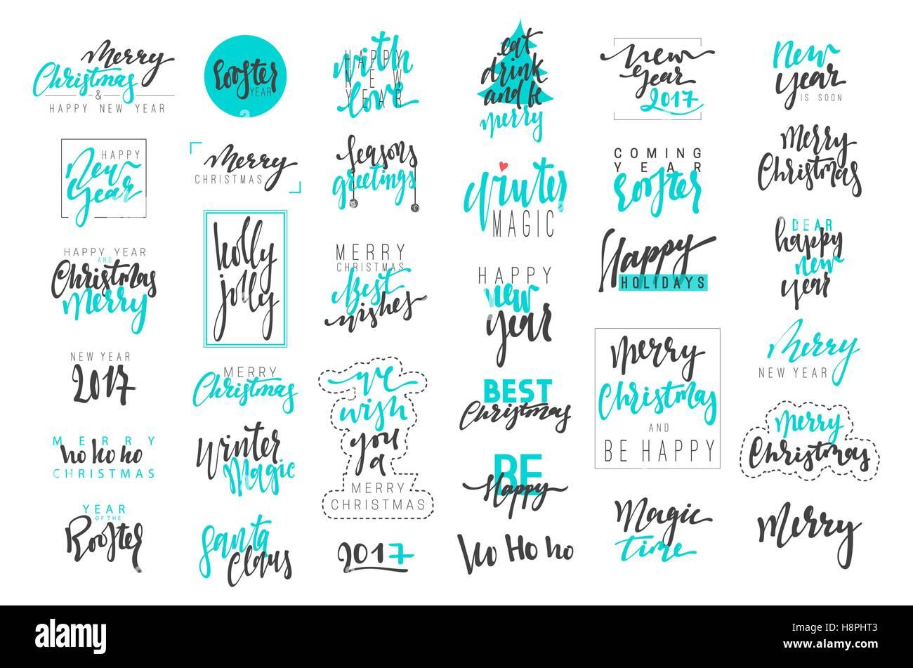 Buon Natale e Felice Anno Nuovo 2017 lusso emblemi di calligrafia set. Nuove iscrizioni blu vacanze, vettore logo Immagini Stock