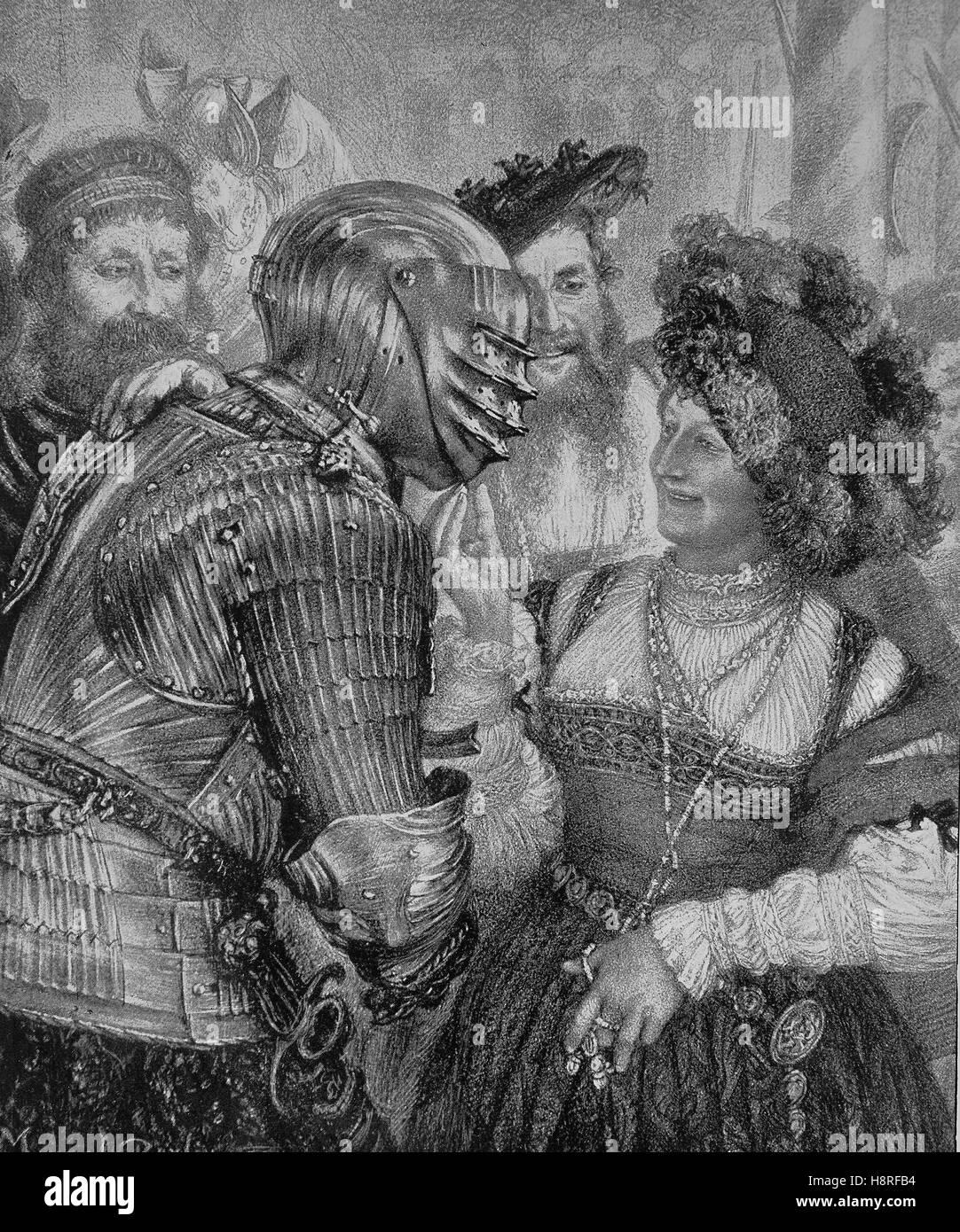 Cavaliere in armatura in una serata di ballo nel castello medievale Immagini Stock