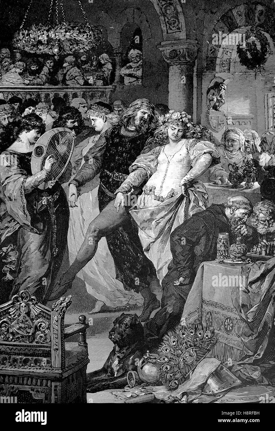 Serata di ballo nel castello medievale Immagini Stock