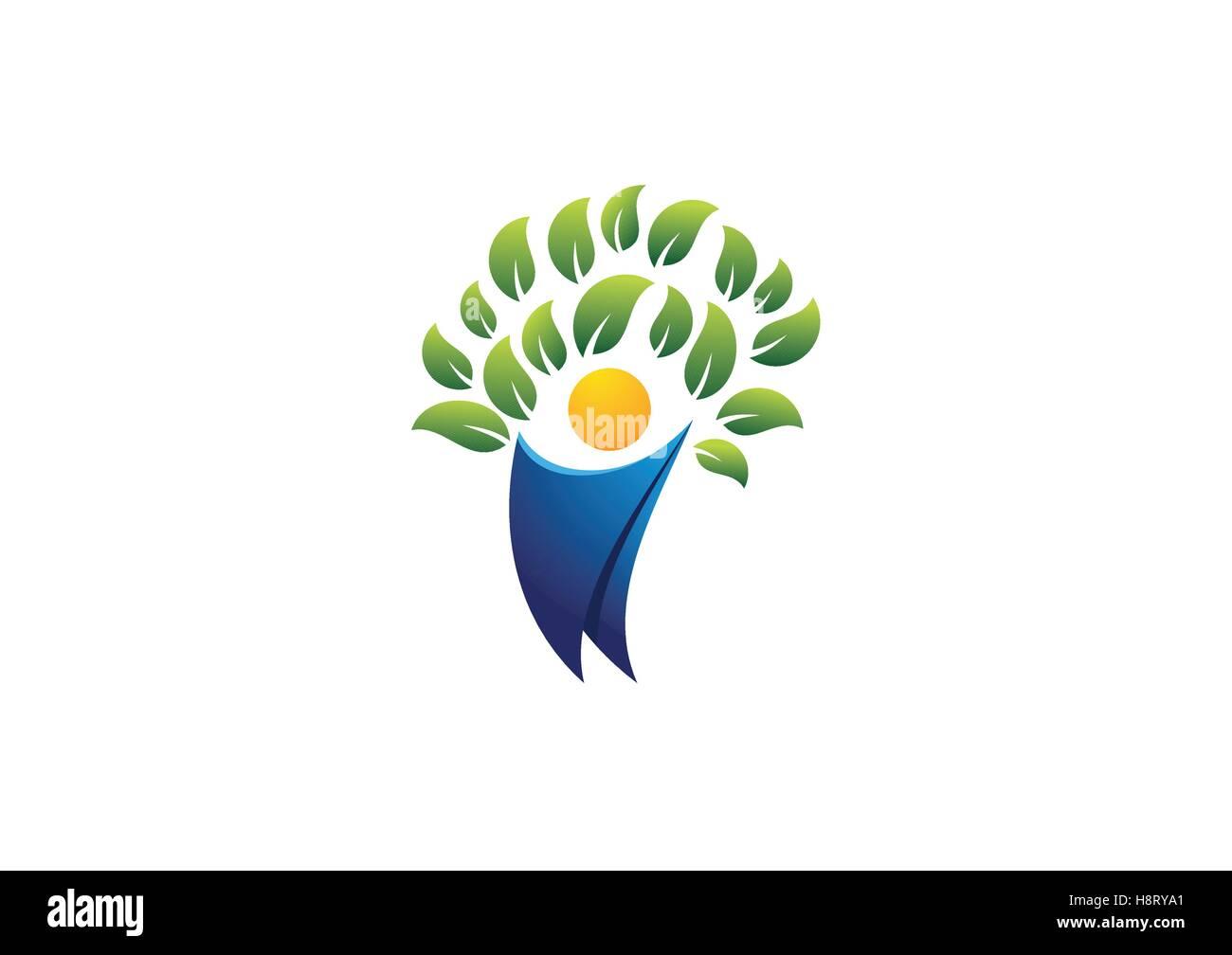 Persone Salute Logo Ad Albero Albero Persone Concetto Di Benessere Simbolo Icona Disegno Vettoriale Immagine E Vettoriale Alamy