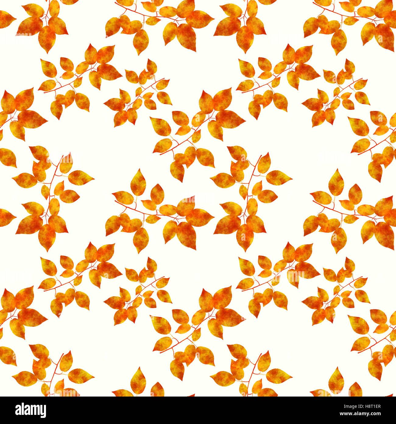 Foglie di colore arancione modello senza giunture Immagini Stock