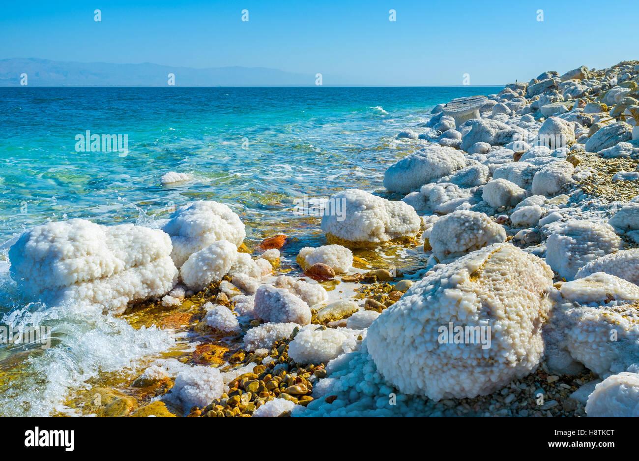 Il Mar Morto è il famoso centro turistico e una delle più popolari località in Israele. Immagini Stock