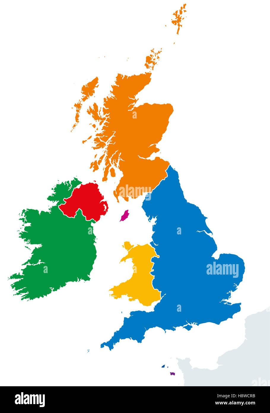 Cartina Inghilterra E Scozia.Regno Unito Paesi E Irlanda Mappa Politico Inghilterra Scozia Galles E Irlanda Del Nord Foto Stock Alamy