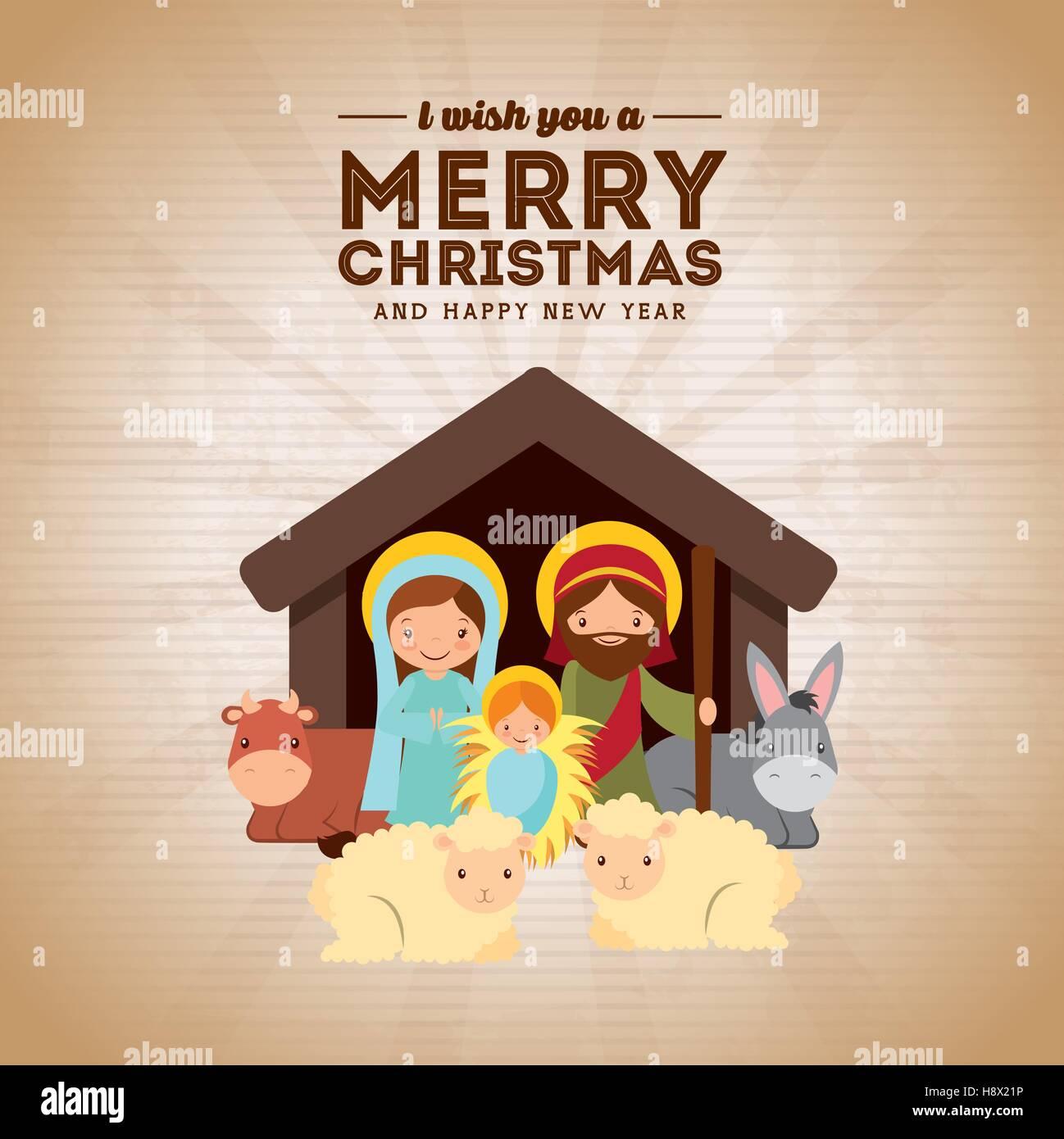 Buon Natale Famiglia.Sacra Famiglia Presepe Scena Buon Natale E Felice Anno Nuovo Card