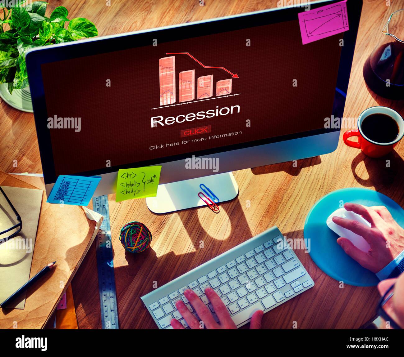 Crisi di recessione inflazione risparmi in fallimento del concetto di commercio Immagini Stock