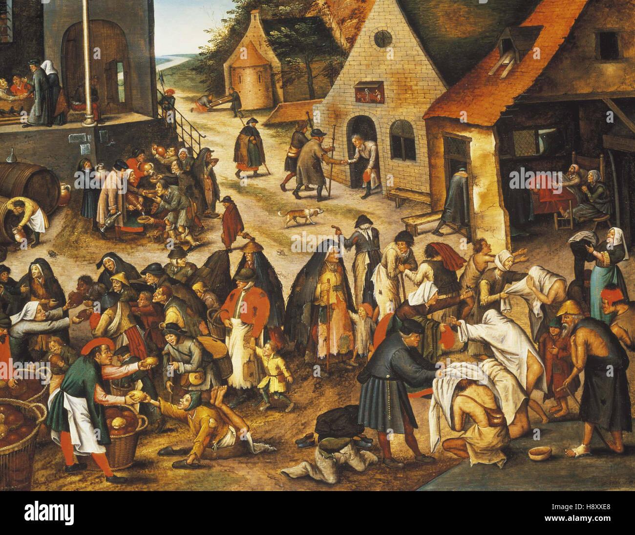 Pieter Breughel sette atti di misericordia Immagini Stock