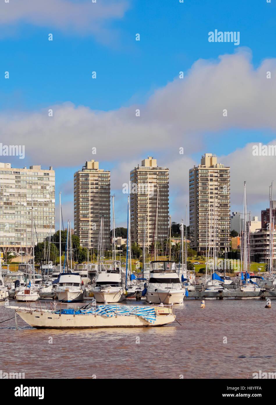 Uruguay, Montevideo, piccolo porto di Buceo quartiere. Immagini Stock